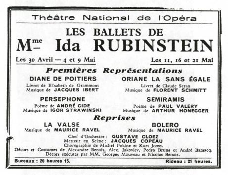 Les Ballet Ida Rubinstein 1933 Season Announcement