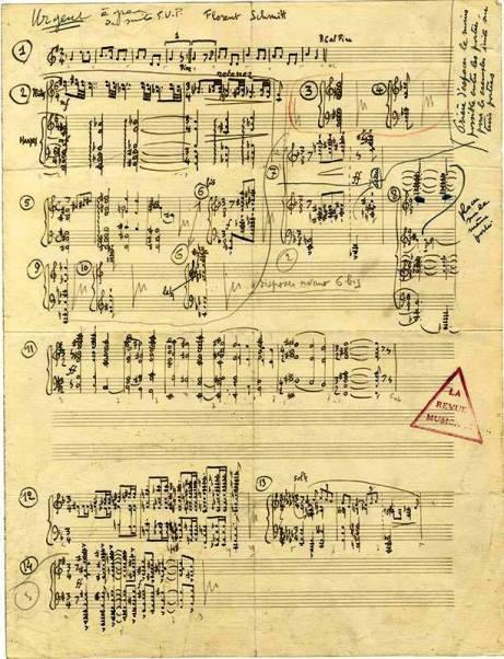 Florent Schmitt Oriane manuscript revision