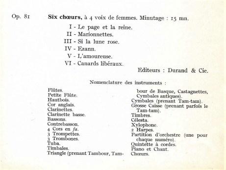 Florent Schmitt Six Choeurs Op. 81 orchestration