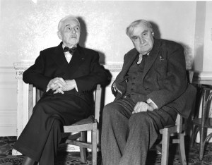 Florent Schmitt (l.) and Ralph Vaughan-Williams (r.), photographed in London in 1956.