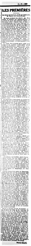 La France June 4 1913 Florent Schmitt Stravinsky Le Sacre