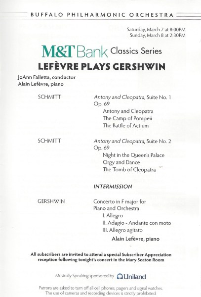 BPO concert program Schmitt Gershwin