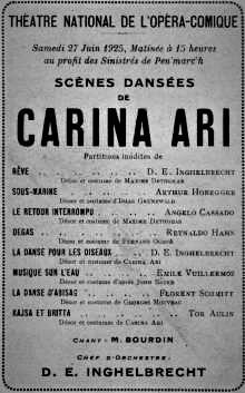 Carina Ari Opera-comique program 1925 Inghelbrecht Schmitt