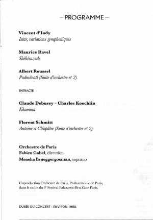 Orchestre de Paris June 9-10 2018 program