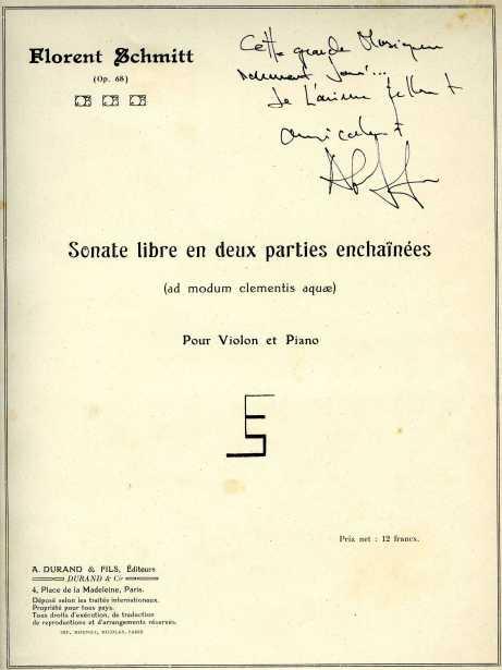 Florent Schmitt Sonate libre Alain Lefevre