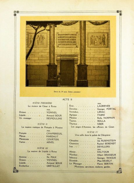 Antony & Cleopatra program book Act II Shakespeare Gide Schmitt Rubinstein Paris 1920
