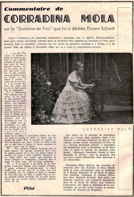 Corradina Mola Florent Schmitt Sonatine en trio 1935
