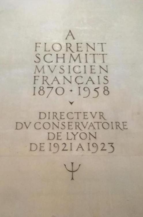 Florent Schmitt Lyon Conservatoire stone plaque