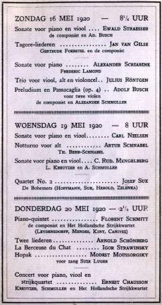 Amsterdam Mahler Chamber Music Festival 1920 Mengelberg Schoenberg Florent Schmitt