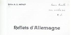Florent Schmitt Reflets d'Allemagne score inscribed to Maurice Ravel