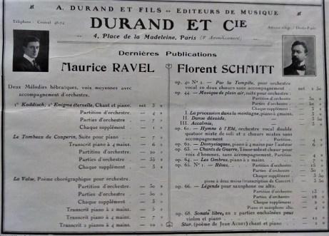 Maurice Ravel Florent Schmitt Durand catalog page 1920