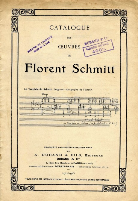 Florent Schmitt catalogue cover 1922 Durand