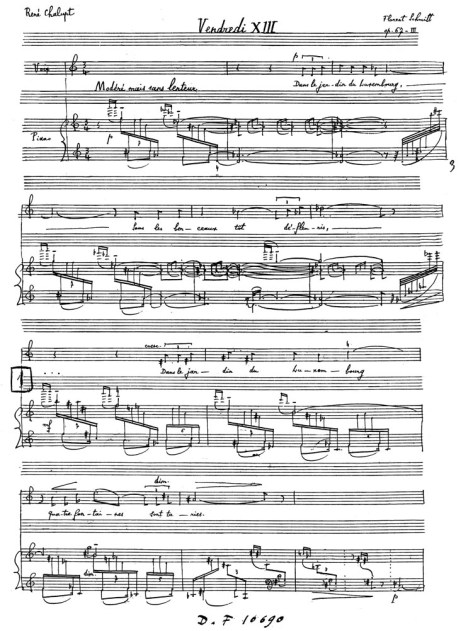 Florent Schmitt Kerob-Shal manuscript page