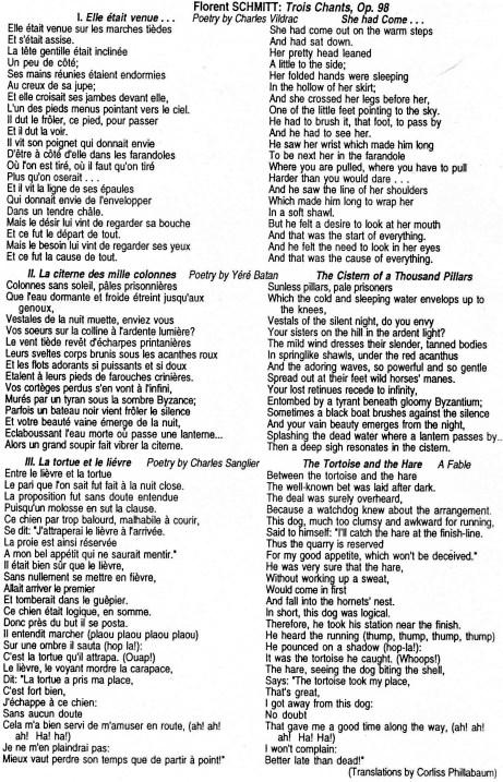 Florent Schmitt Trois chants texts