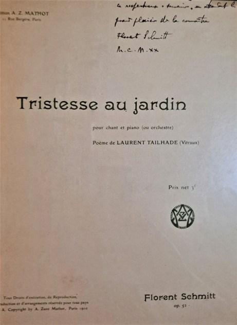 Florent Schmitt Tristesse au jardin score cover inscribed