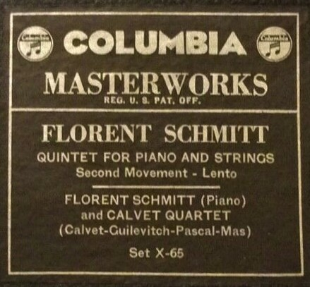 Florent Schmitt Piano Quintet Columbia