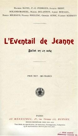 L'Eventail de Jeanne score title page