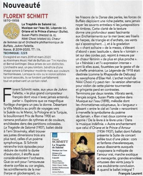 Diapason Florent Schmitt JoAnn Falletta Recording Review March 2021