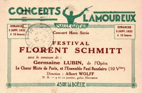 Festival Florent Schmitt January 3, 1932 announcement