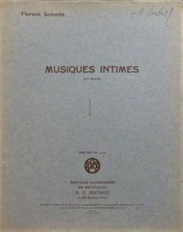 Florent Schmitt Musiques intimes Book II vintage score cover