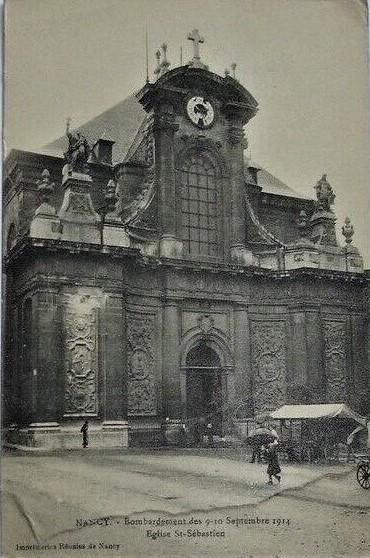 World War I postcard Eglise St-Sebastien