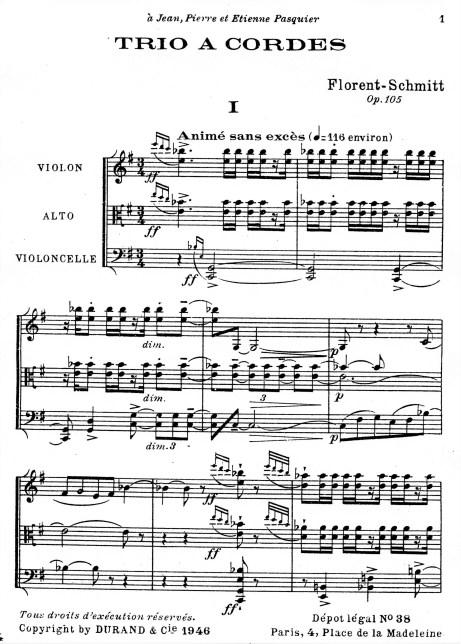 Florent Schmitt Trio a cordes Movement 1 score