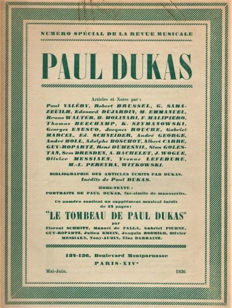Revue Musicale Tombeau de Paul Dukas Special Issue 1936