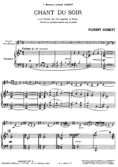 Florent Schmitt Chant du soir score first page