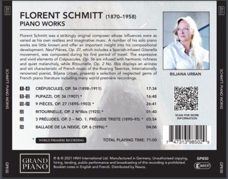 Florent Schmitt Piano Music Biljana Urban NAXOS Grand Piano