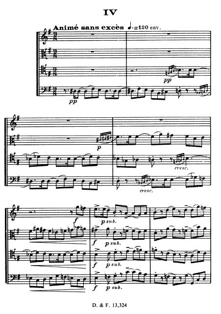 Florent Schmitt Saxophone Quartet score page IV Anime sans exces