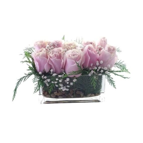 Florero Rectangular 10 Rosas