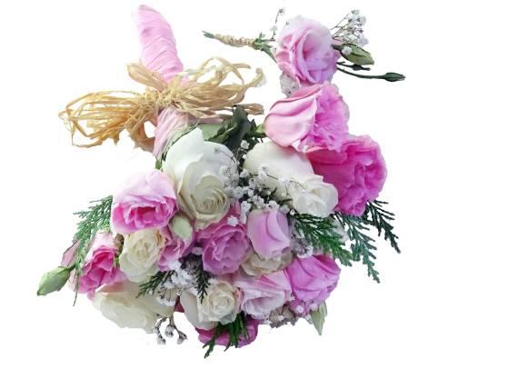 Ramo de novia rosado con blanco