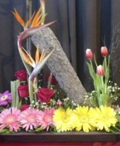 Arreglo exótico y elegante, de tulipan, rosas, aves del paraíso, en base, con tronco - E17