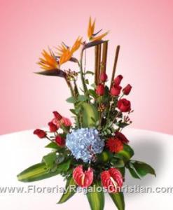 E8 - Aves de paraíso con hortencia y rosas