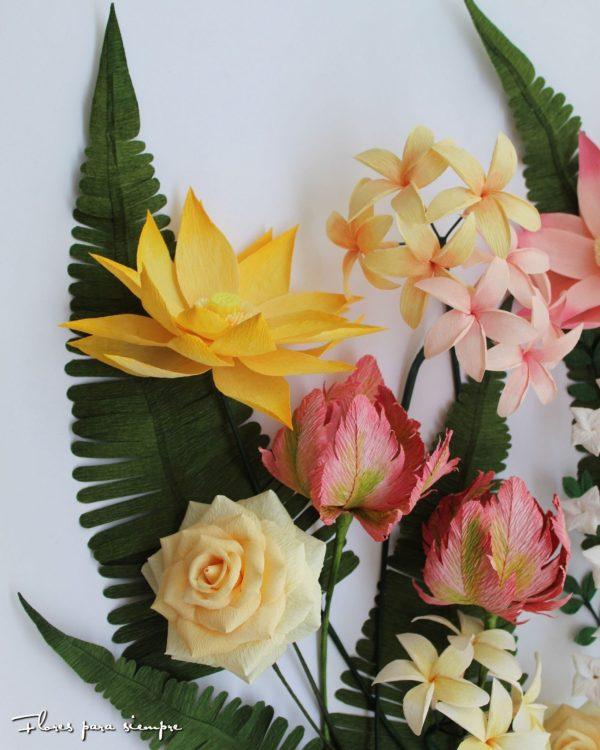 conjunto tropical de flores