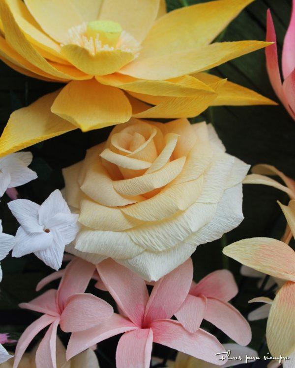rosas amarillas papel