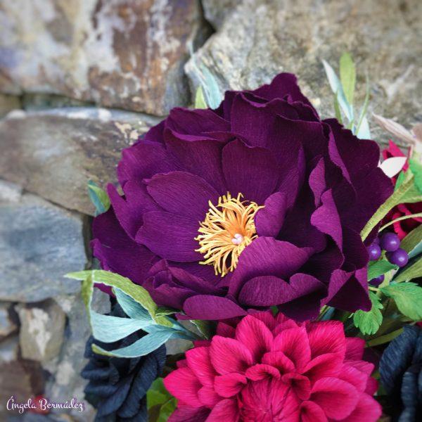 peonías lilas artificiales