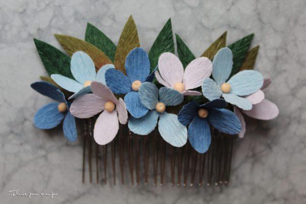 peineta floral tonos azules