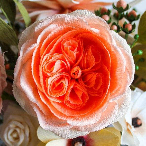 rosa inglesa de papel crepé, flores para siempre, flores de papel crepe