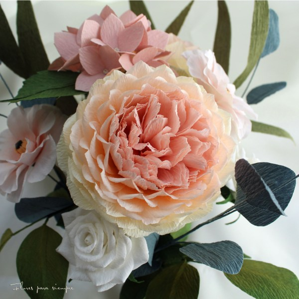 rosas inglesas en papel