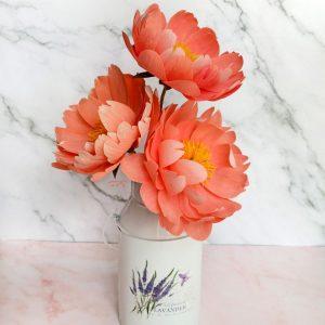 peonias de papel coral charm