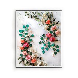 impresión digital floral, flores para siempre, flores de papel crepe,