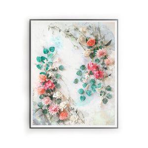 impresion digital estilo acuarela, flores para siempre, flores de papel crepe