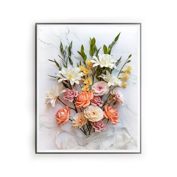 archivo digital descargable, flores para siempre, flores de papel crepé