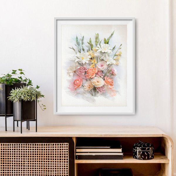 archivo digital floral estilo acuarela descargable, flores para siempre, flores de papel crepé