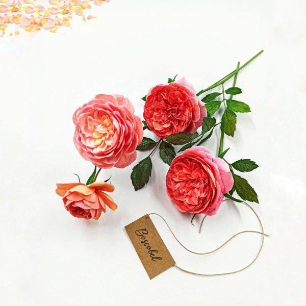 rosas inglesas boscobel, handmade paper roses, flores para siempre, flores de papel crepe