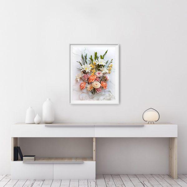 Impresión floral digital descargable, flores para siempre, flores de papel crepé