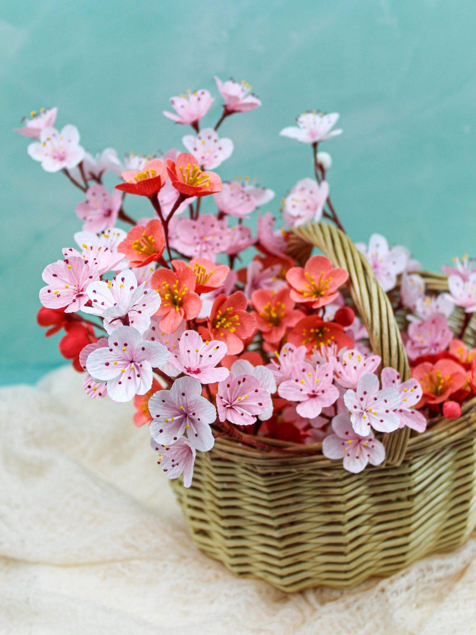 flores de cerezo de papel crepé, flores para siempre, diseño floral en papel