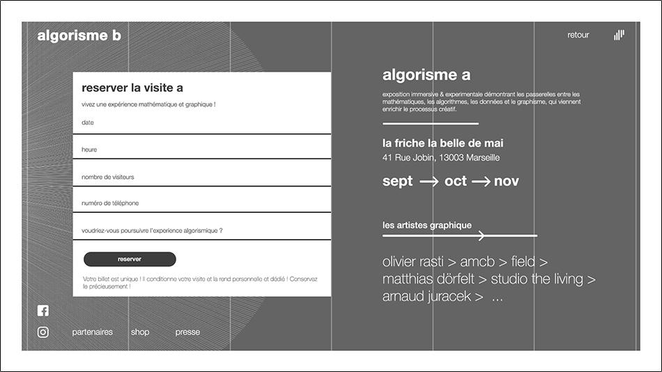 Réservation algorithmique et graphique de l'exposition à la friche la belle de main marseille