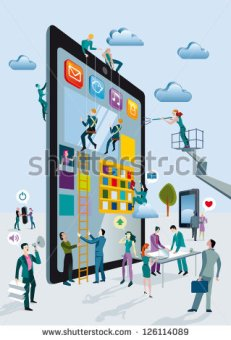 stock-vector-a-team-of-people-work-creatively-together-building-giant-digital-tablets-like-skyscrapers-and-126114089